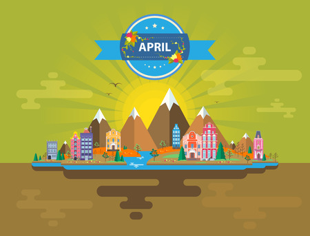 stock image: Spring landscape. Small town. Set 7 of urban buildings. Calendar. Month of April Infographics Mountains, sun, rays, forest, nature, river, city Flat design Stock Image Illustration Vector Illustration