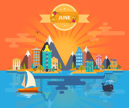 Summer landscape. Small town. Set 6 of urban buildings. Calendar. Month of June Infographics Mountain, sun, rays, nature, river, park, city Flat design Stock Image Illustration Vector Çizim