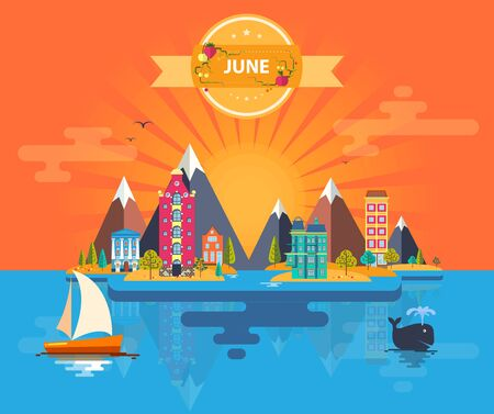 Summer landscape. Small town. Set 6 of urban buildings. Calendar. Month of June Infographics Mountain, sun, rays, nature, river, park, city Flat design Stock Illustration Vector Çizim
