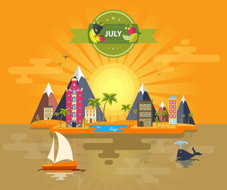 Summer landscape. Small town Set 10 Month of July Infographics Calendar Mountain, sun, rays, nature, park, urban, building, boat, sail, city Flat design Stock Image Vector Çizim