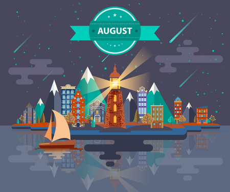 meteor shower: Summer landscape. Small town Set 1 Month of August Infographics Calendar Mountain, lighthouse, nature, park, urban, building, boat, sail, city Flat design Stock Image Illustration Vector