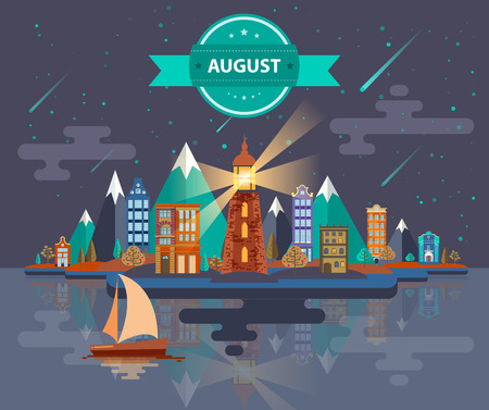 meteor shower: Summer landscape. Small town Set 1 Month of August Infographics Calendar Mountain, lighthouse, nature, park, urban, building, boat, sail, city Flat design Image Illustration Vector