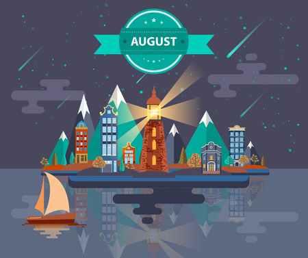meteor shower: Summer landscape. Small town Set 1 Month of August Infographics Calendar Mountain, lighthouse, nature, park, urban, building, boat, sail, city Flat design Stock Illustration Vector Illustration