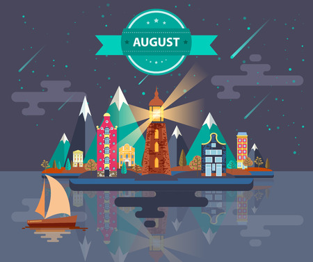 meteor shower: Summer landscape. Small town Set 1 Month of August Infographics Calendar Mountain, lighthouse, nature, park, urban, building, boat, sail, city Flat design Stock Image Vector