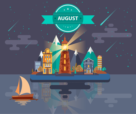 meteor shower: Summer landscape. Small town Set 1 Month of August Infographics Calendar Mountain, lighthouse, nature, park, urban, building, boat, sail, city Flat design Stock Image Illustration