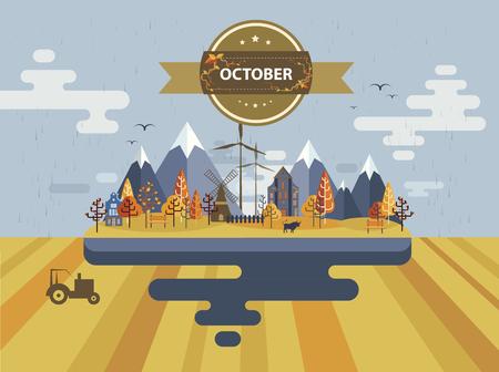 arable: Autumn landscape. Small town Set 1 Month of October Infographics Calendar Mountain, nature, park, tractor, bull, village, building, windmill Flat design Stock Image Illustration Vector Illustration