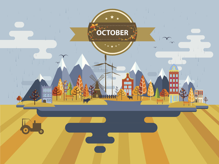 tractor in field: Autumn landscape. Small town Set 1 Month of October Infographics Calendar Mountain, nature, park, tractor, bull, village, building, windmill Flat design Image Illustration Vector Illustration