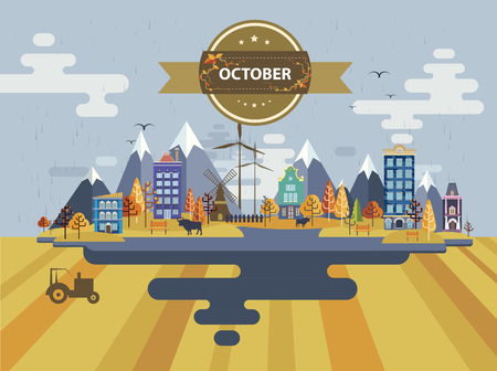 tractor sign: Autumn landscape. Small town Set 1 Month of October Infographics Calendar Mountain, nature, park, tractor, bull, village, building, windmill Flat design Stock Illustration Vector