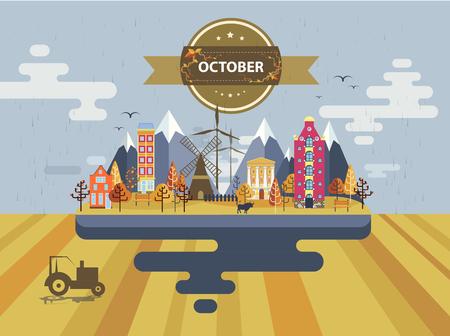 arable: Autumn landscape. Small town Set 1 Month of October Infographics Calendar Mountain, nature, park, tractor, bull, village, building, windmill Flat design Stock Image Illustration Illustration