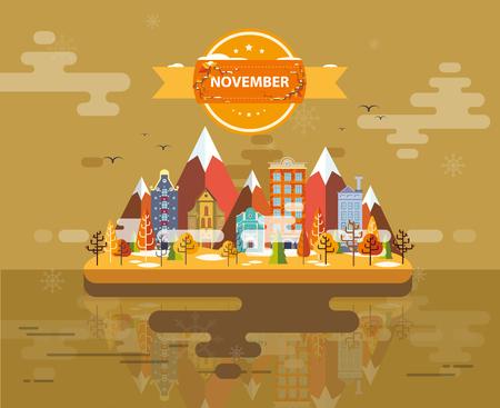 stock image: Autumn landscape. Small town Set 1 Month of November Infographics Calendar Mountain, nature, park, building, Flat design Stock Image Illustration Vector