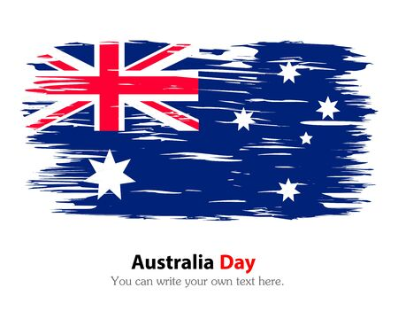 Australia Day. The national flag painted with a brush colored inks. Effects flag of the country. Background, grunge, paint, ink, color. Image. Vector