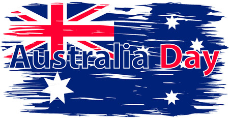Australia Day. The national flag painted with a brush colored inks. Effects flag of the country. Background, grunge, paint, ink, color. Image. Icon Çizim