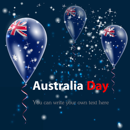 Australia Day. Flag of Australia in the form of a ball against the sky. I love Australia. Vector. Icon. Background Ilustracja