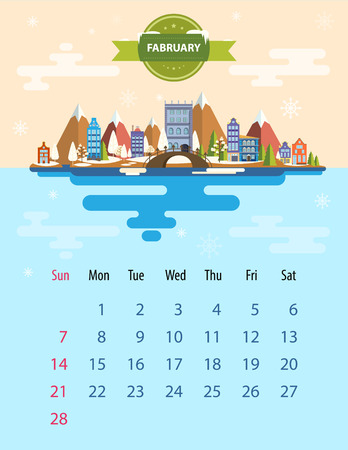small town: Calendar for 2016 in letter format. Style slim design. Set 5. Landscape of a small town on the background of nature mountains, buildings, trees, sky, clouds and water. Illustration. Image. Vector