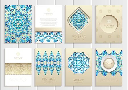 distributing: Stock vector set of brochures in vintage style. Vector design templates blue frames, ornaments, patterns and golden backgrounds. Use for printed materials, signs, elements, web sites, cards