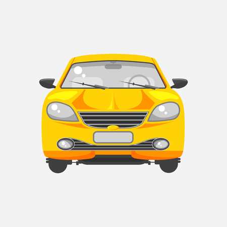 motorist: Stock vector illustration isolated yellow car hatchback front view flat style on gray background. Element infographic, printed material, website, icon, card Congratulation on Day of motorist or driver Illustration