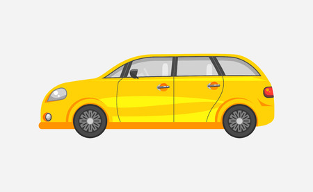motorist: Stock vector illustration isolated yellow car hatchback side view flat style gray background. Element for infographic, printed material, website, icon, card Congratulation on Day of motorist or driver