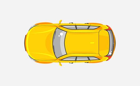 aislado ilustración vectorial de la vista superior con portón trasero coche amarillo en el estilo plano sobre fondo gris. Elemento de infografía, material impreso, página web, icono, Tarjeta de felicitación del día de automovilista, conductor
