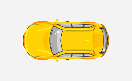 motorist: Stock vector illustration isolated yellow car hatchback top view in flat style on gray background. Element infographic, printed material, website, icon, card Congratulation on Day of motorist, driver