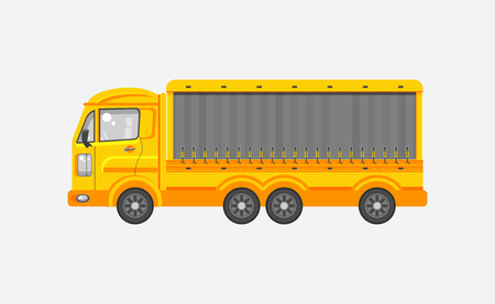 motorist: Stock vector illustration isolated delivery truck side view in flat style on gray background. Element for infographic, printed material, website, icon, card Congratulation on Day of motorist or driver