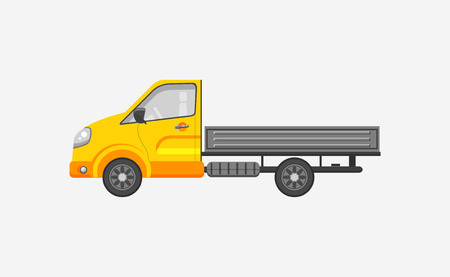 motorist: Stock vector illustration isolated light truck with trailer side view flat style gray background. Element infographic, printed material, website, icon, card Congratulation on Day of motorist or driver Illustration