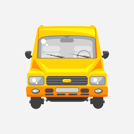 wipers: Stock vector illustration isolated yellow minibus front view in flat style on a gray background. Element infographic, printed material, website, icon, card Congratulation on Day of motorist or driver Illustration