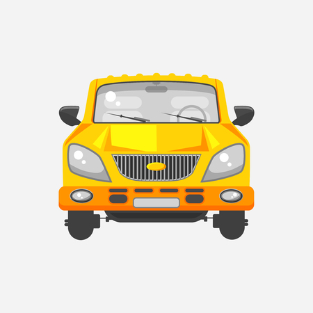 motorist: Stock vector illustration isolated yellow minivan car front view in flat style on gray background Element infographic, printed material, website, icon, card Congratulation on Day of motorist or driver