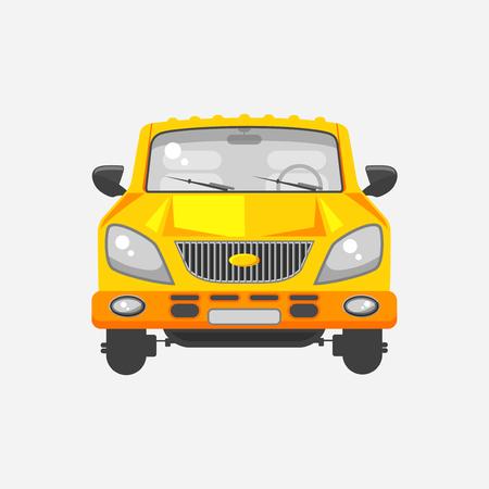 Stock illustration isolé vue minivan voiture avant jaune dans le style plat sur fond gris Element infographique, matériel imprimé, site web, icône, carte Félicitation le jour de l'automobiliste ou le conducteur