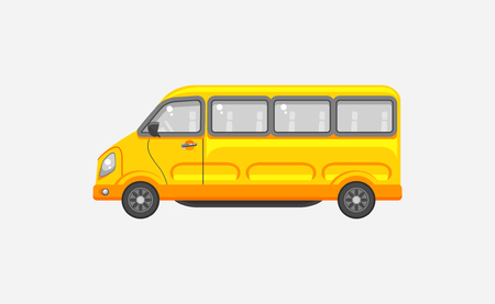 motorist: Stock vector illustration isolated yellow minibus side view in flat style on gray background. Element for infographic, printed material, website, icon, card Congratulation on Day of motorist or driver
