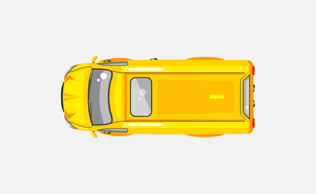 wipers: Stock vector illustration isolated yellow minivan top view in flat style on gray background. Element for infographic, printed material, website, icon, card Congratulation on Day of motorist or driver