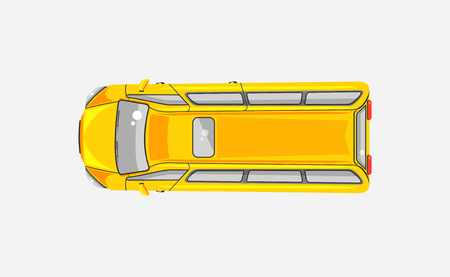 wipers: Stock vector illustration isolated yellow minibus top view in flat style on gray background. Element for infographic, printed material, website, icon, card Congratulation on Day of motorist or driver