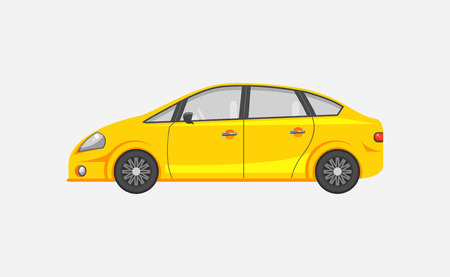 car side view: Stock vector illustration isolated yellow sedan car  side view flat style on gray background. Element for infographic, printed material, website, icon, card Congratulation on Day of motorist or driver