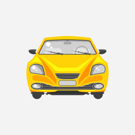 wipers: Stock vector illustration isolated yellow sedan car front view in flat style on a gray background Element infographic, printed material, website, icon, card Congratulation on Day of motorist or driver