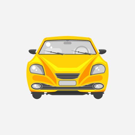 Stock illustration isolé jaune vue berline avant dans le style à plat sur un fond gris Element infographique, matériel imprimé, site web, icône, carte Félicitation le jour de l'automobiliste ou le conducteur