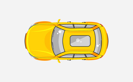 printed material: Stock vector illustration isolated yellow sedan car top view in flat style on gray background. Element for infographic, printed material, website, icon, card Congratulation on Day of motorist, driver Illustration