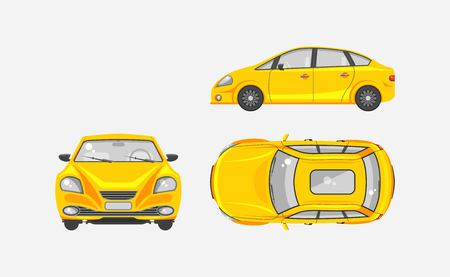 motorist: Stock vector illustration isolated yellow sedan car top, front, side view flat style gray background Element infographic, printed material, website, icon, card Congratulation Day of motorist or driver