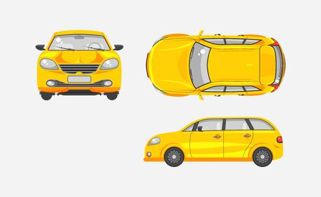 wipers: Stock vector illustration isolated yellow car hatchback top, front, side view flat style gray background Element infographic, printed material, website, icon, card Congratulation Day of motorist or driver Illustration