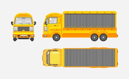 Stock vector illustration isolated yellow delivery truck top, front, side view flat style gray background Element infographic, printed material, website, icon, card Congratulation Day of motorist or driver