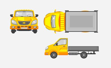 motorist: Stock vector illustration isolated light truck with trailer top, front, side view flat style gray background Element infographic, printed material, website, icon, card Congratulation Day of motorist or driver Illustration