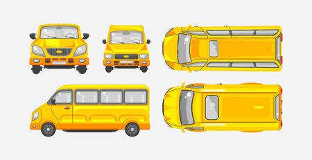 motorist: Stock vector illustration isolated yellow minibus top, front, side view flat style gray background Element infographic, printed material, website, icon, card Congratulation Day of motorist or driver