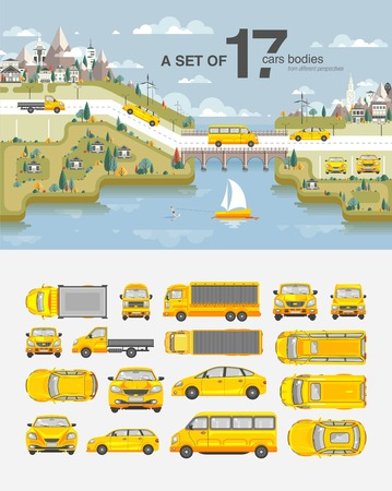snowcapped: Set stock vector illustration cars, buildings with road, bridge, snow-capped mountains, park, field, tree, house, sailboat wakeboarder near sea flat style element infographic printed website icon