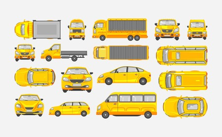 Set stock vector illustration yellow car hatchback, delivery truck, light truck with trailer, minibus, sedan top, front, side view flat style gray background Element infographic, website, icon Illustration
