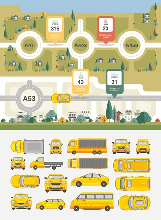 road trip: Set vector illustration stock cars, buildings and highways map among fields for statistics of accidents, injuries, deaths, people disabilities in flat style element infographic, printed, website, icon