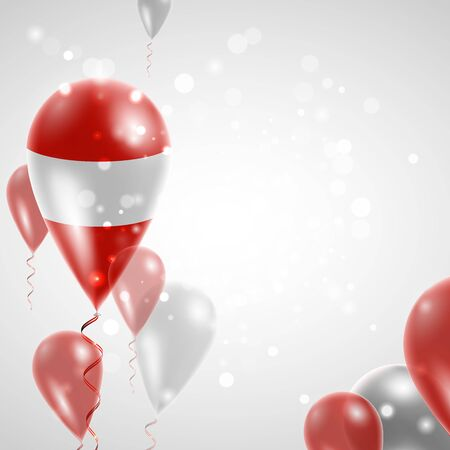 feast day: flag of Austria. Independence Day. Flag of Micronesia on air balloon. Celebration and gifts. Balloons on the feast of the national day.  Use for brochures, printed materials, signs, elements Illustration