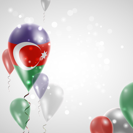 feast: Azerbaijani flag. Independence Day. Flag of Micronesia on air balloon. Celebration and gifts. Balloons on the feast of the national day.  Use for brochures, printed materials, signs, elements