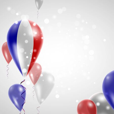 national holiday: Flag of France. Independence Day. Flag of Micronesia on air balloon. Celebration and gifts. Balloons on the feast of the national day.  Use for brochures, printed materials, signs, elements Illustration