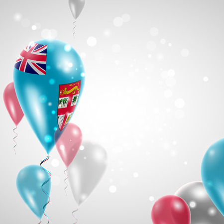 feast: Flag of Fiji. Independence Day. Flag of Micronesia on air balloon. Celebration and gifts. Balloons on the feast of the national day.  Use for brochures, printed materials, signs, elements Illustration