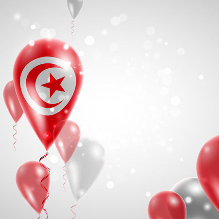 feast: Flag of Tunisia. Independence Day. Flag of Micronesia on air balloon. Celebration and gifts. Balloons on the feast of the national day.  Use for brochures, printed materials, signs, elements