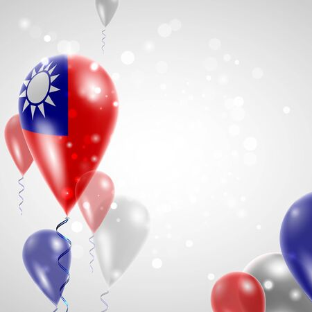 national holiday: Flag of Taiwan. Independence Day. Flag of Micronesia on air balloon. Celebration and gifts. Balloons on the feast of the national day.  Use for brochures, printed materials, signs, elements