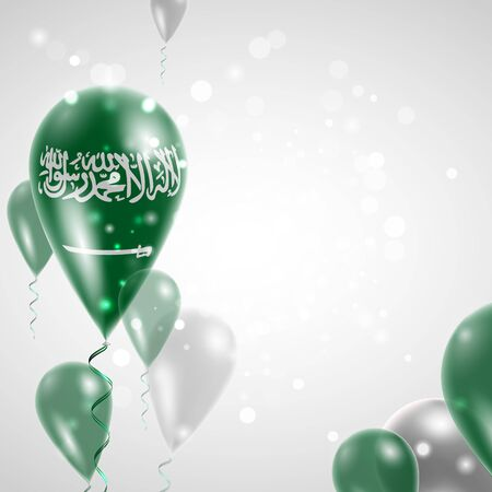 Flag of Saudi Arabia. Independence Day. Flag of Micronesia on air balloon. Celebration and gifts. Balloons on the feast of the national day. Use for brochures, printed materials, signs, elements